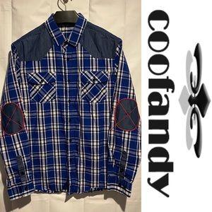COOFANDY Men's Size M Button Down Shirt Plaid EUC